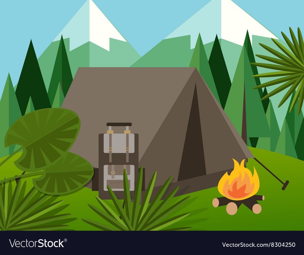 Camp forest mountain flat background