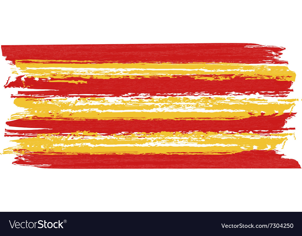 Catalan flag painted by brush hand paints