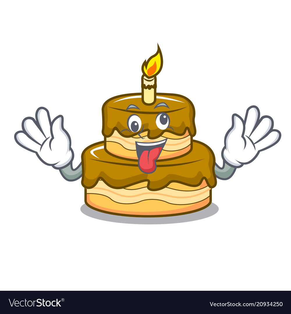Crazy Birthday Cake Mascot Cartoon Royalty Free Vector Image