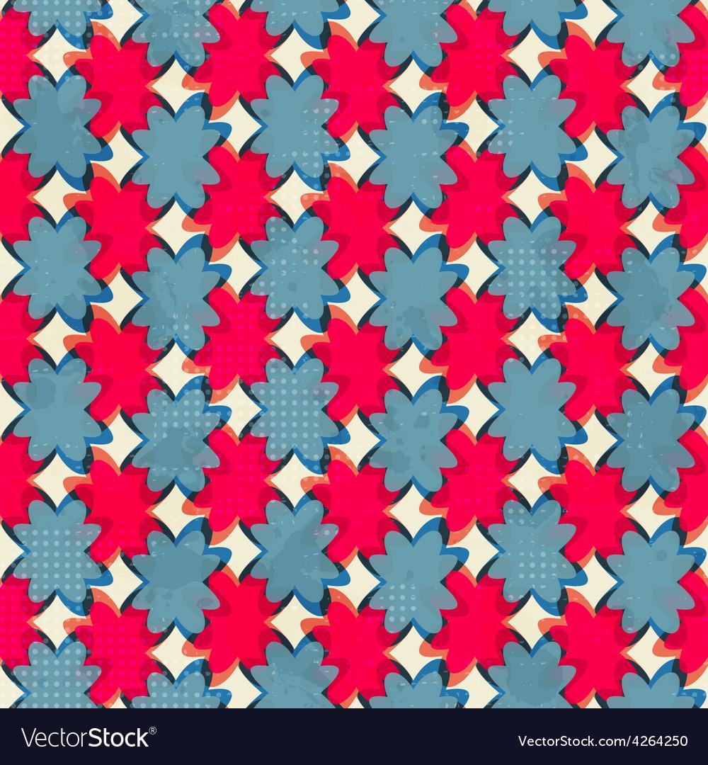 Geometric flowers seamless pattern