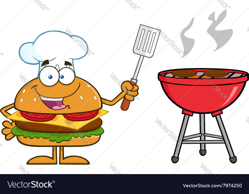 hamburger chef cartoon cooking a bbq royalty free vector