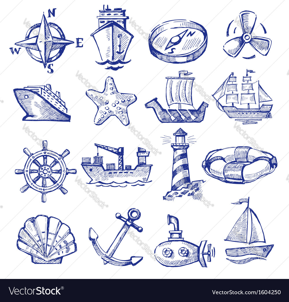 Hand drawn boat and ship vector image
