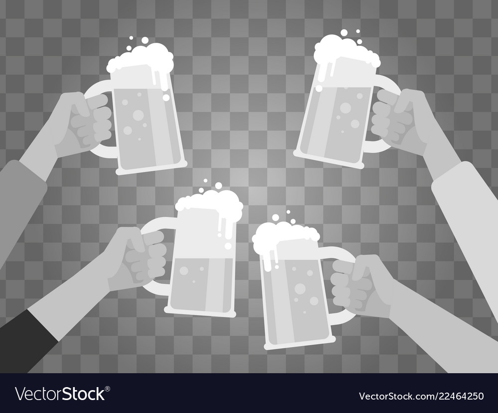 Hands holding beer glasses isolated on background