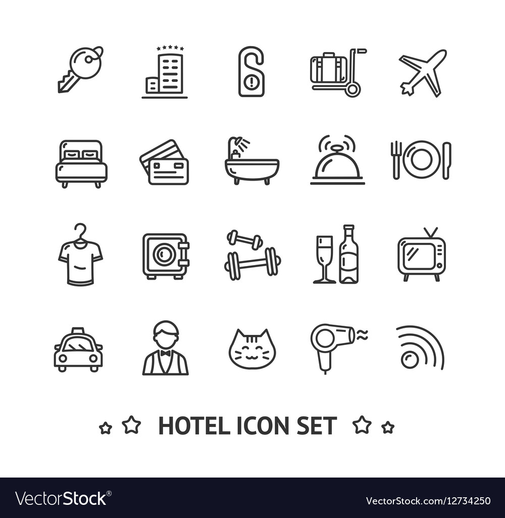 Hotel Icon Thin Line Set