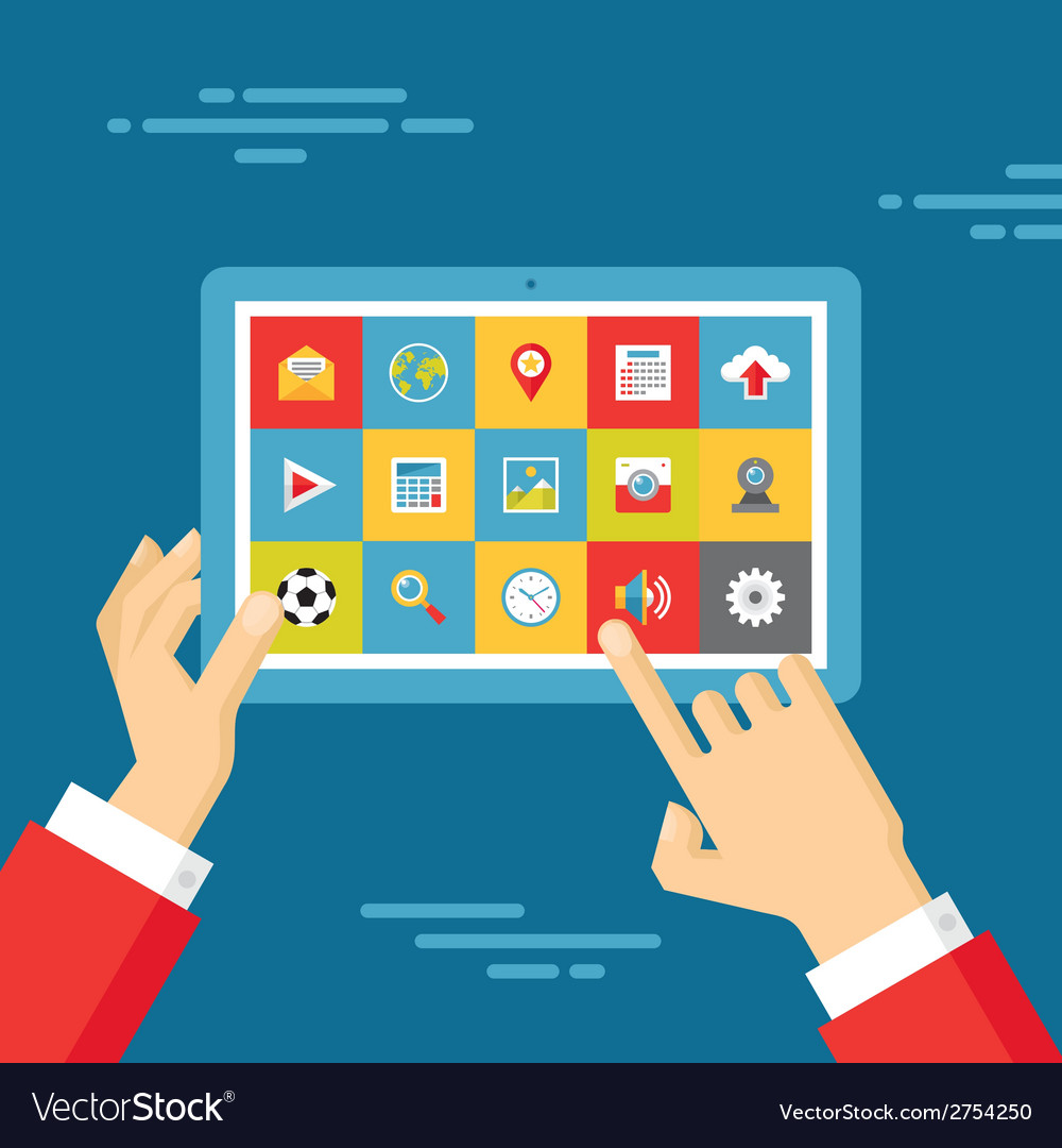 Human Hands with Tablet and Icons Set