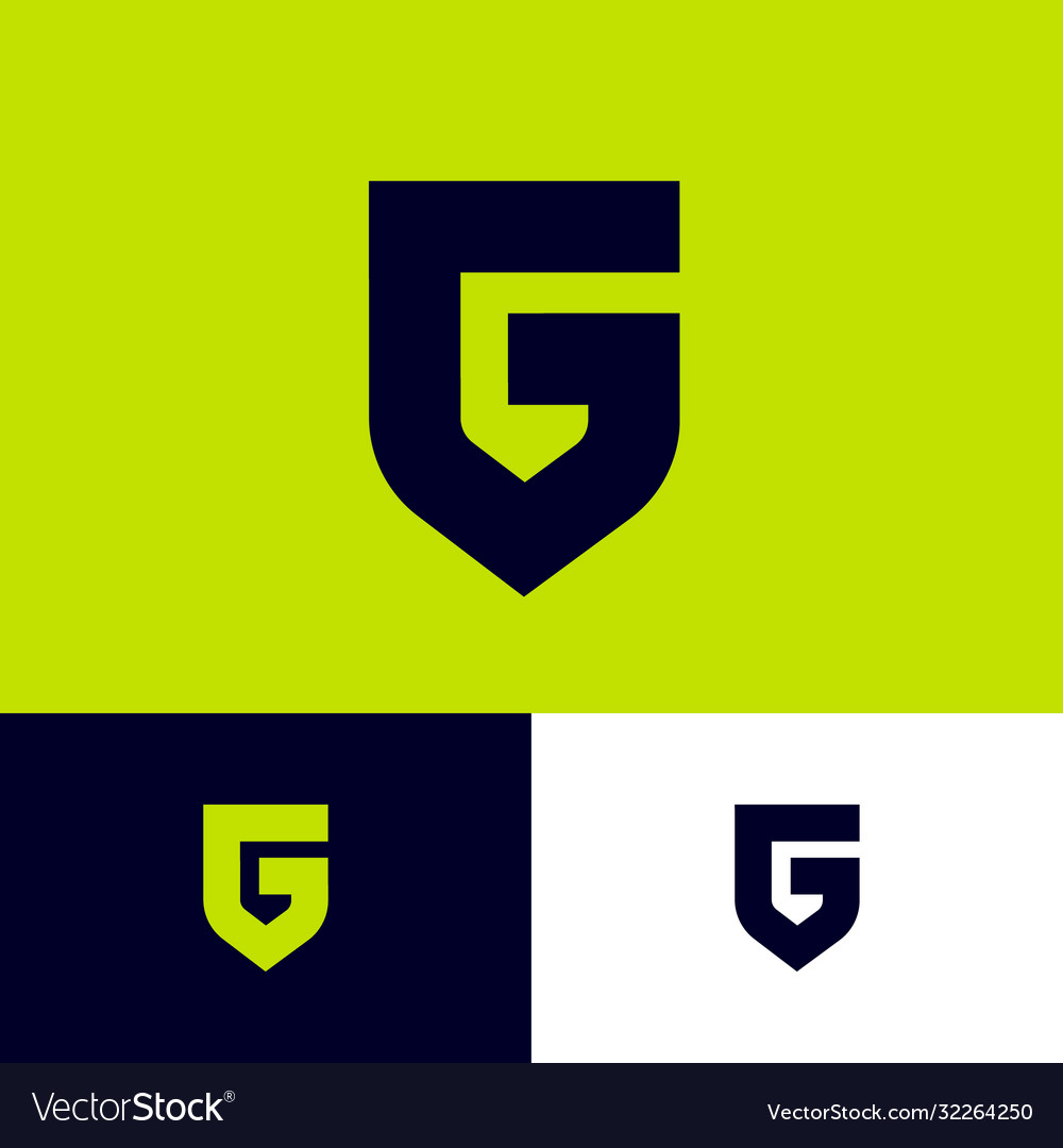 Letter g like a shield monogram protect emblem