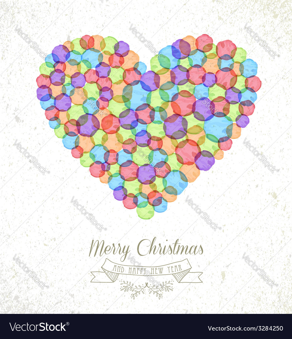 Merry Christmas watercolor heart card Royalty Free Vector