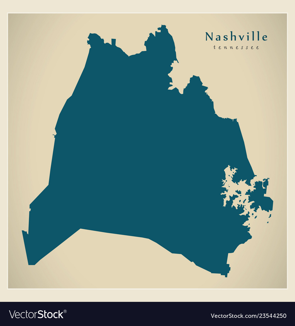 Modern map - nashville tennessee city of the usa