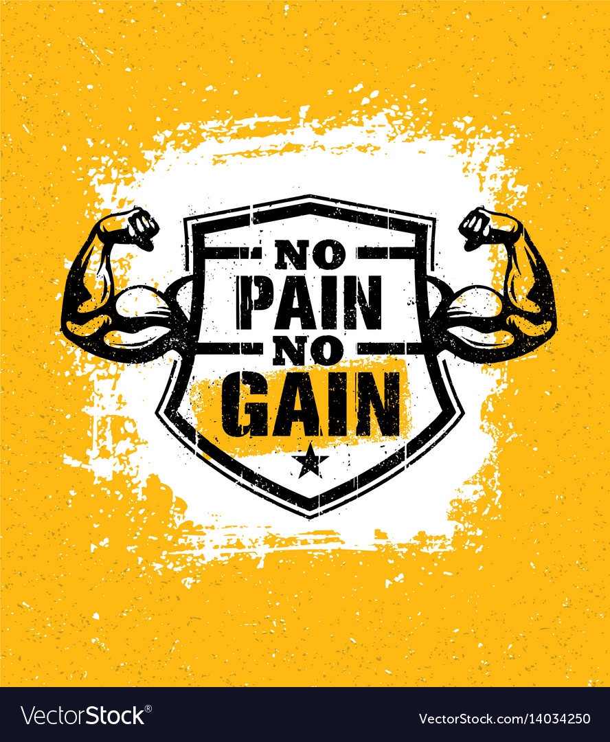 No Pain No Gain Gym Workout Motivation Quote Vector Image