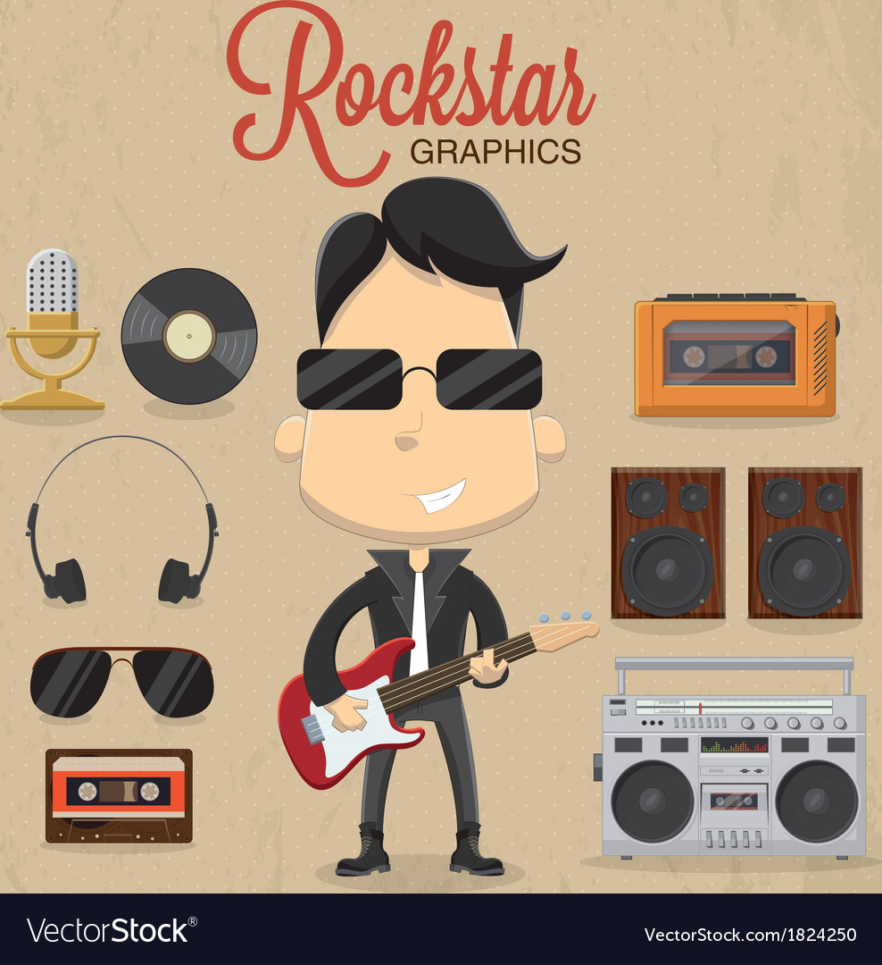 Rock star guy character design icon and