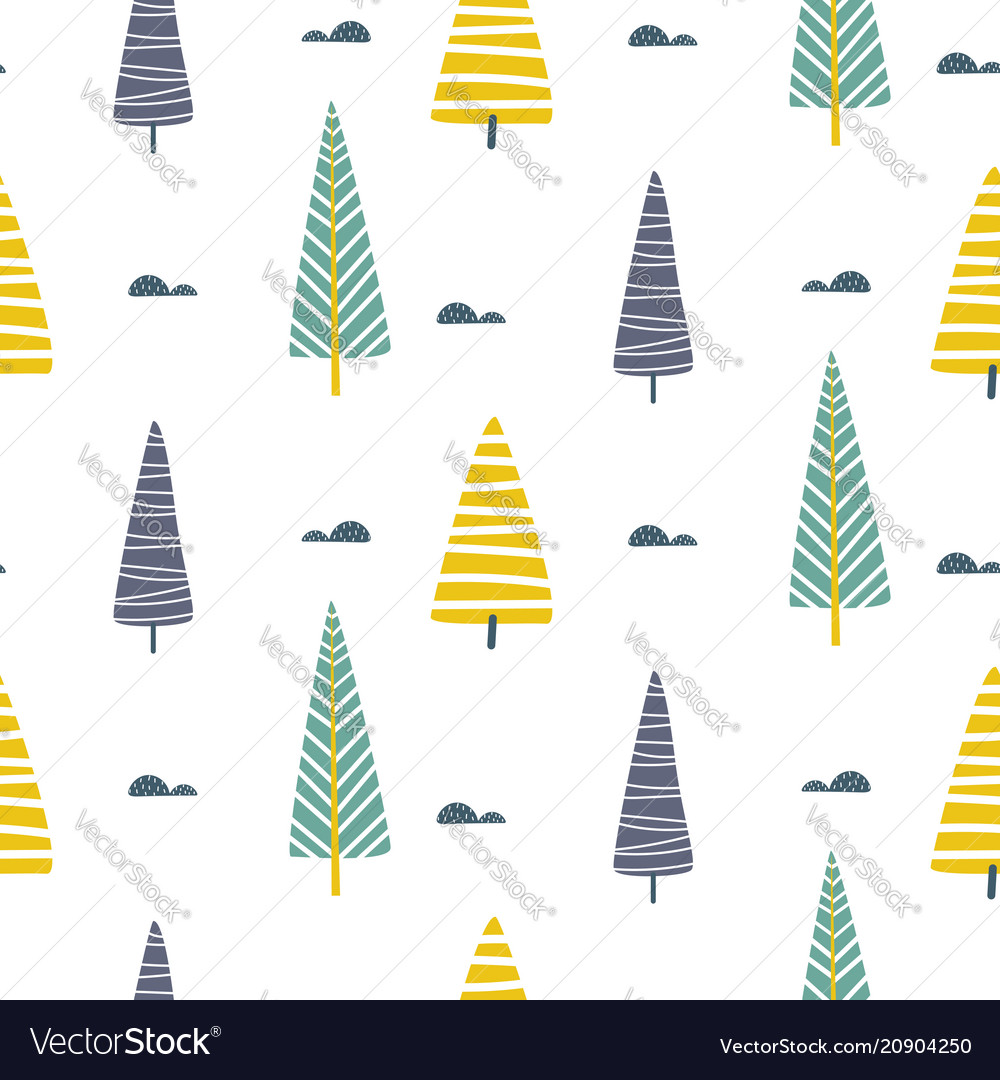 Seamless pattern with trees scandinavian vector image