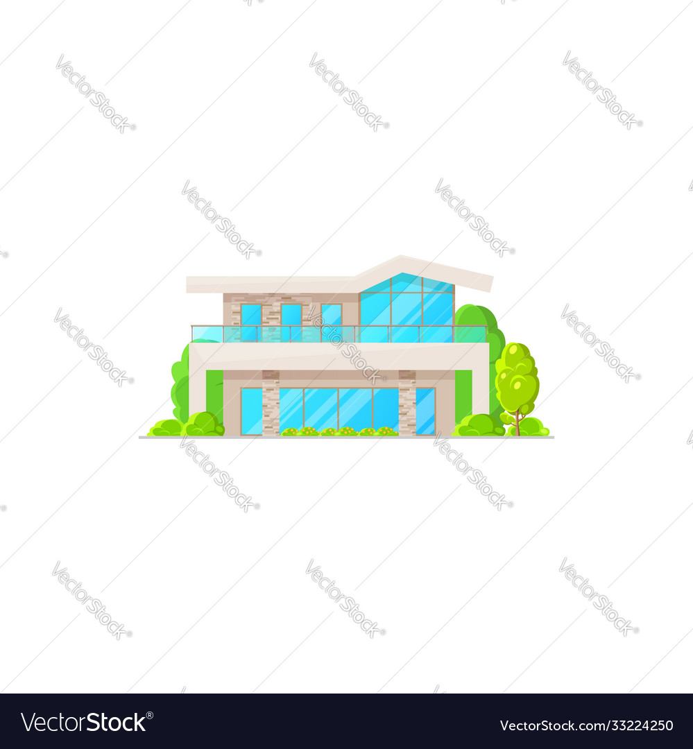 Villa or cottage house isolated urban building