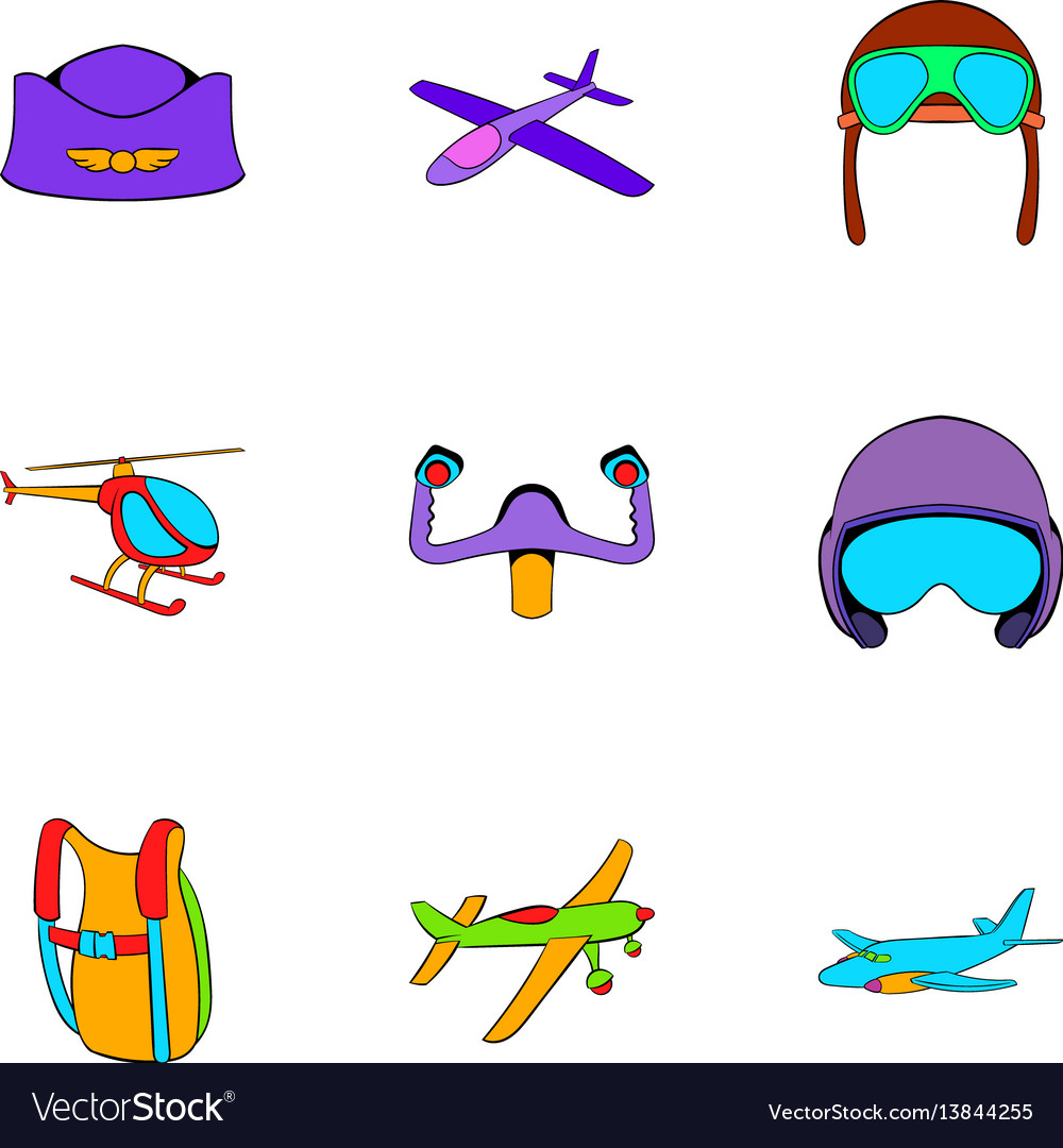 Aircraft icons set cartoon style