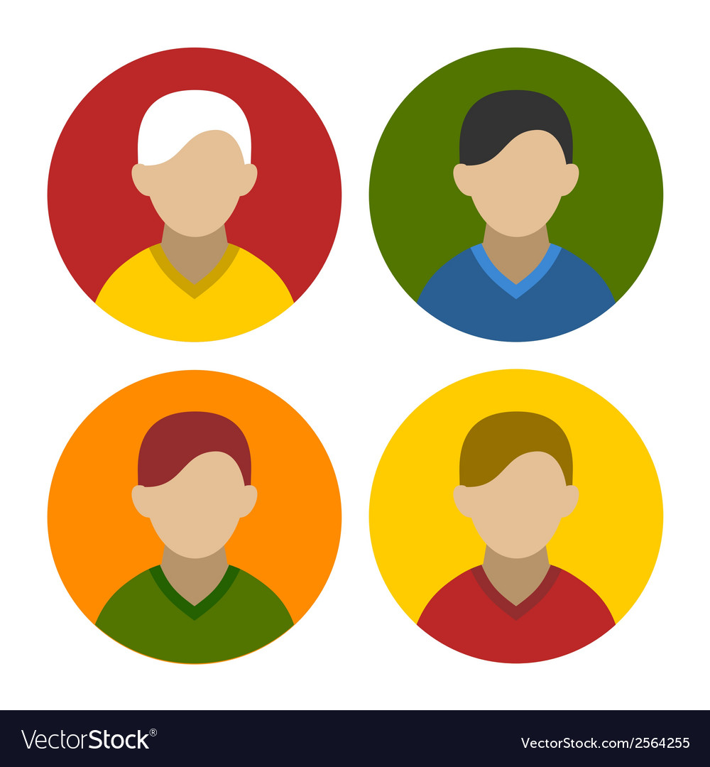 Colorful Businessman Userpics Icons Set in Flat