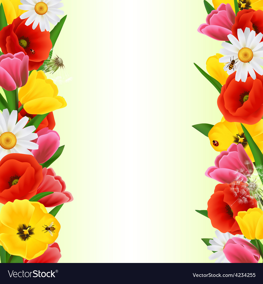 Colorful Flower Border Royalty Free Vector Image
