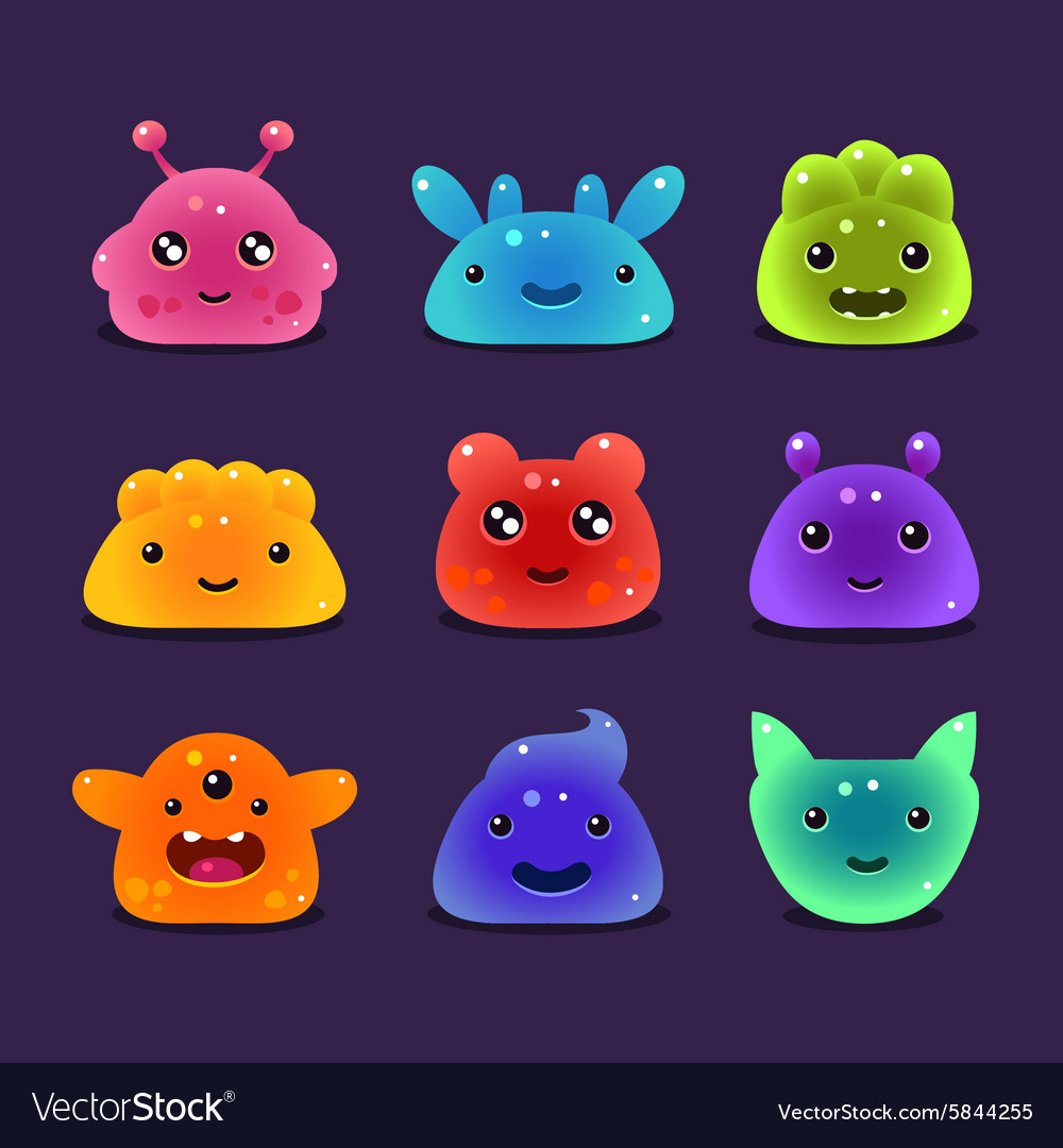 Cute cartoon jelly monsters vector image