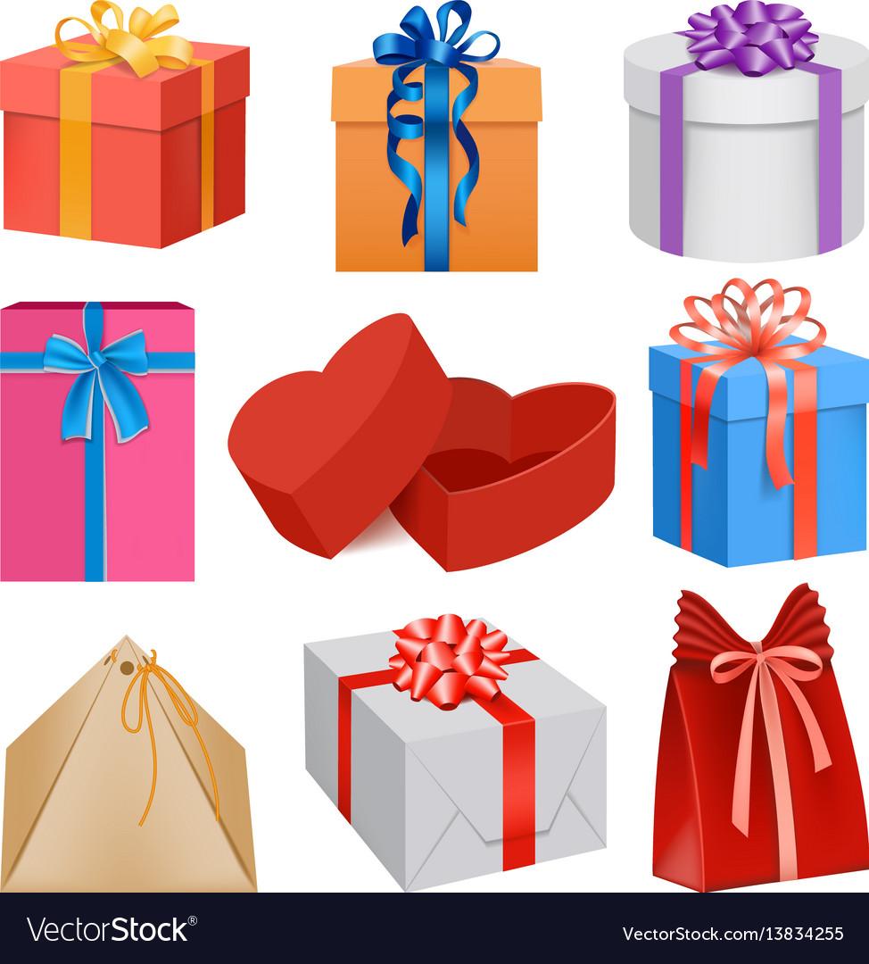 Gift box mockup set realistic style