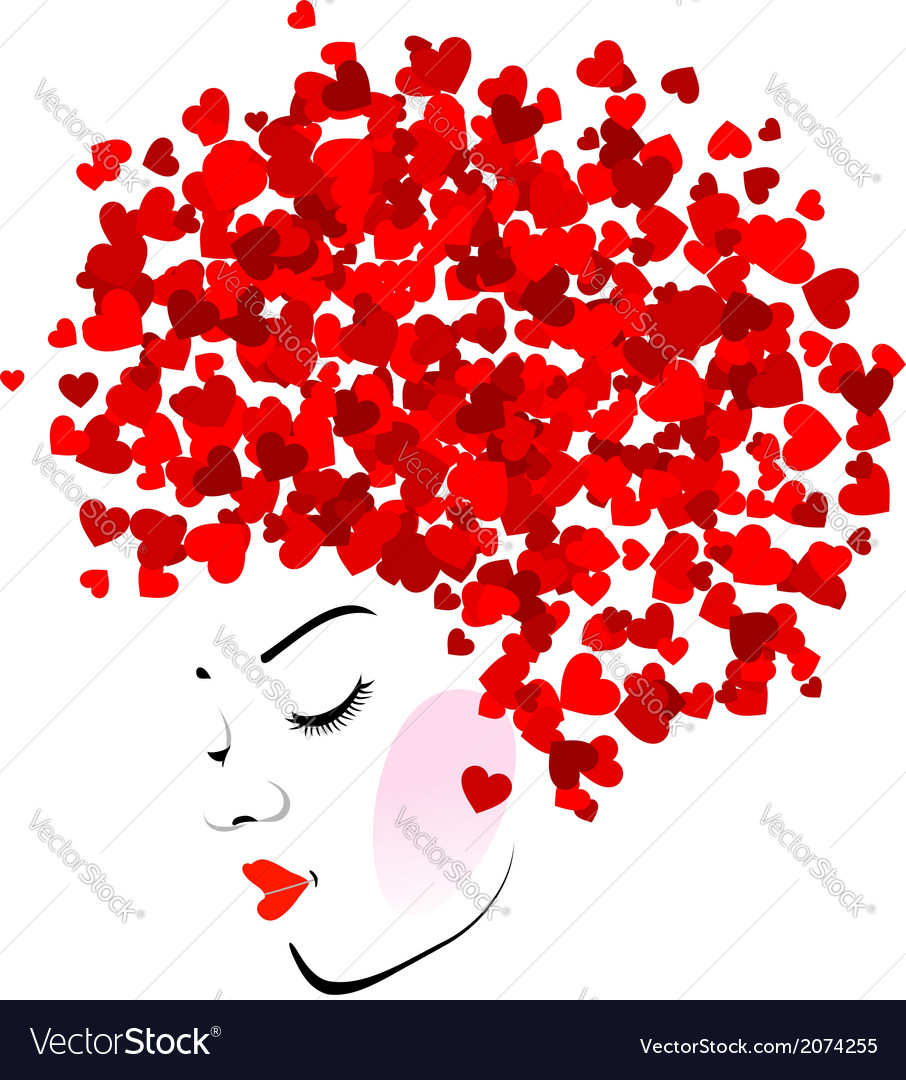 Hairstyle with hearts vector image