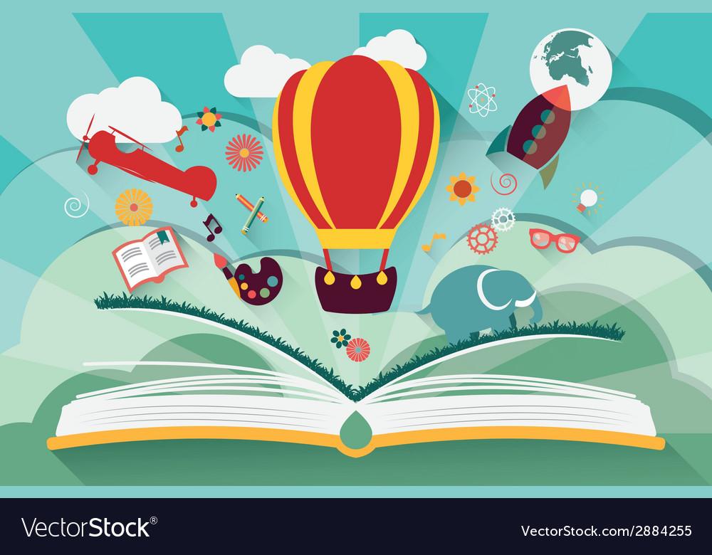 Imagination concept - open book with air balloon
