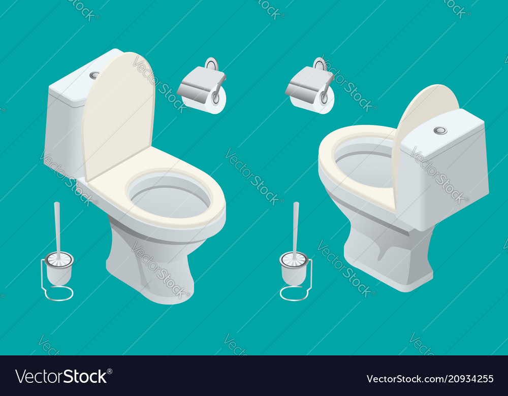 Isometric toilet equipment collection for interior