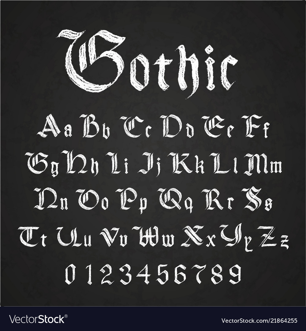 Old hand drawn gothic letters drawing with white