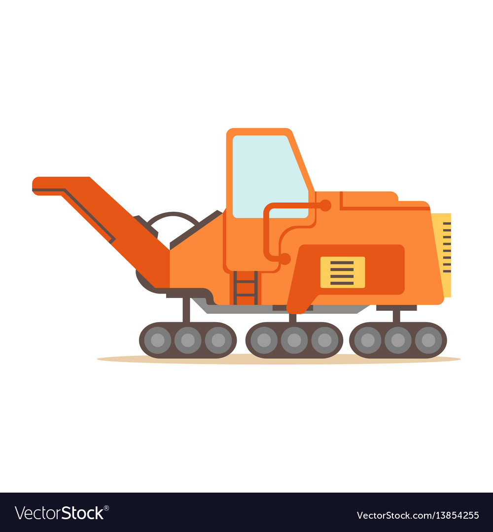 Orange gravel spreading graver machine part of