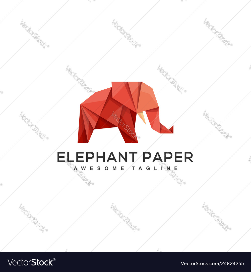 Origami elephant design concept template vector
