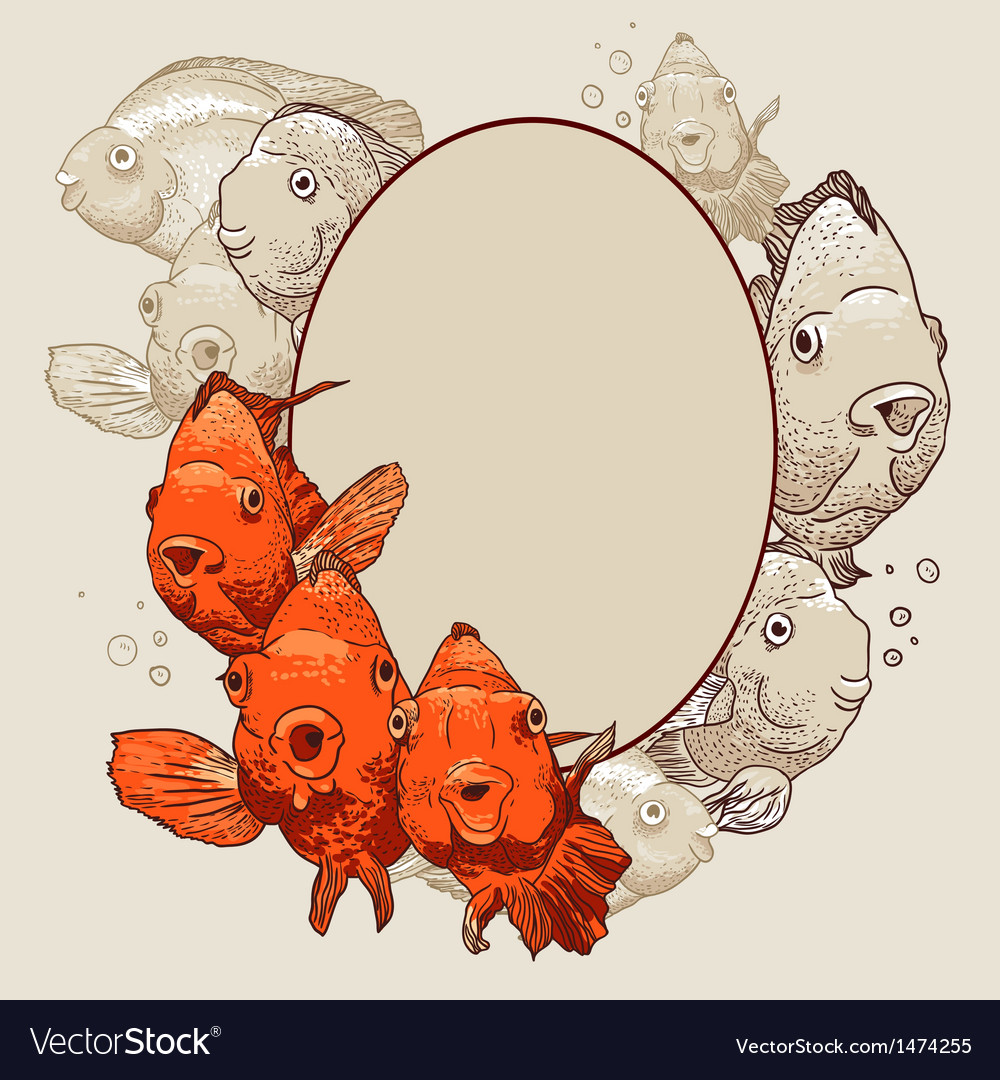 Ornamental frame with fish Royalty Free Vector Image