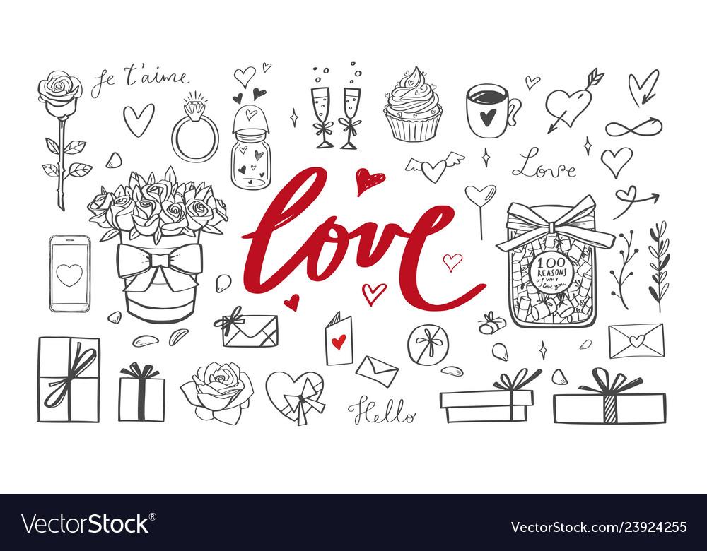 Romantic doodle set handwritten lettering