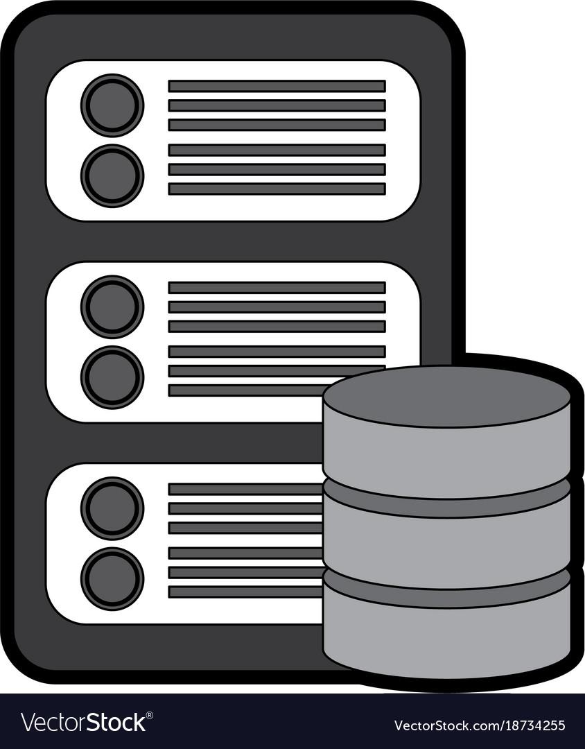 Server with database web hosting icon image