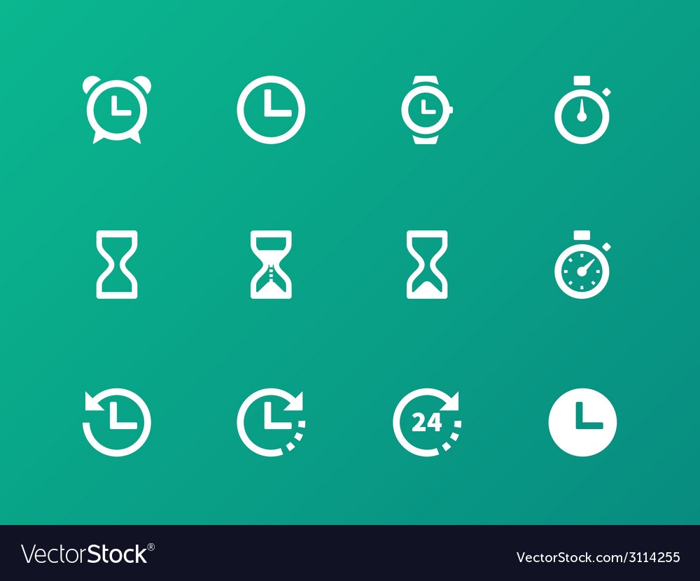 Time and Clock icons on green background vector image
