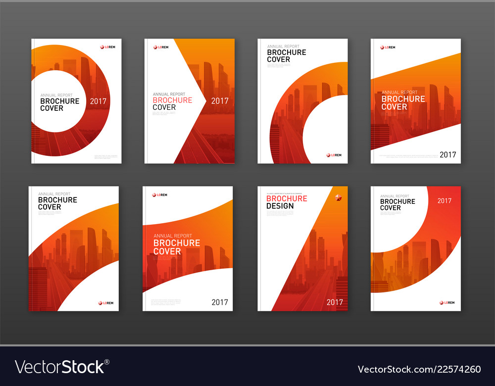 Annual report brochure cover design layouts set