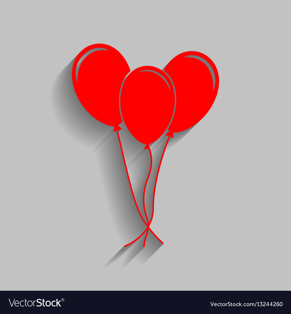 Balloons set sign red icon with soft vector image