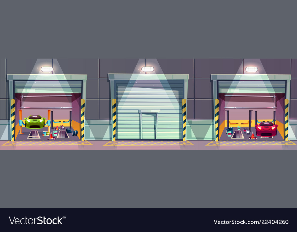 Cartoon mechanic workshop with car garage