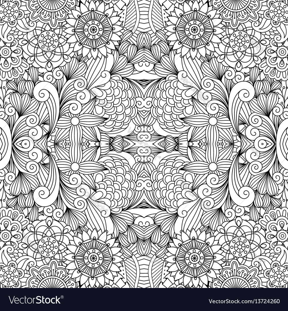 Flowers and swirls line decorative pattern