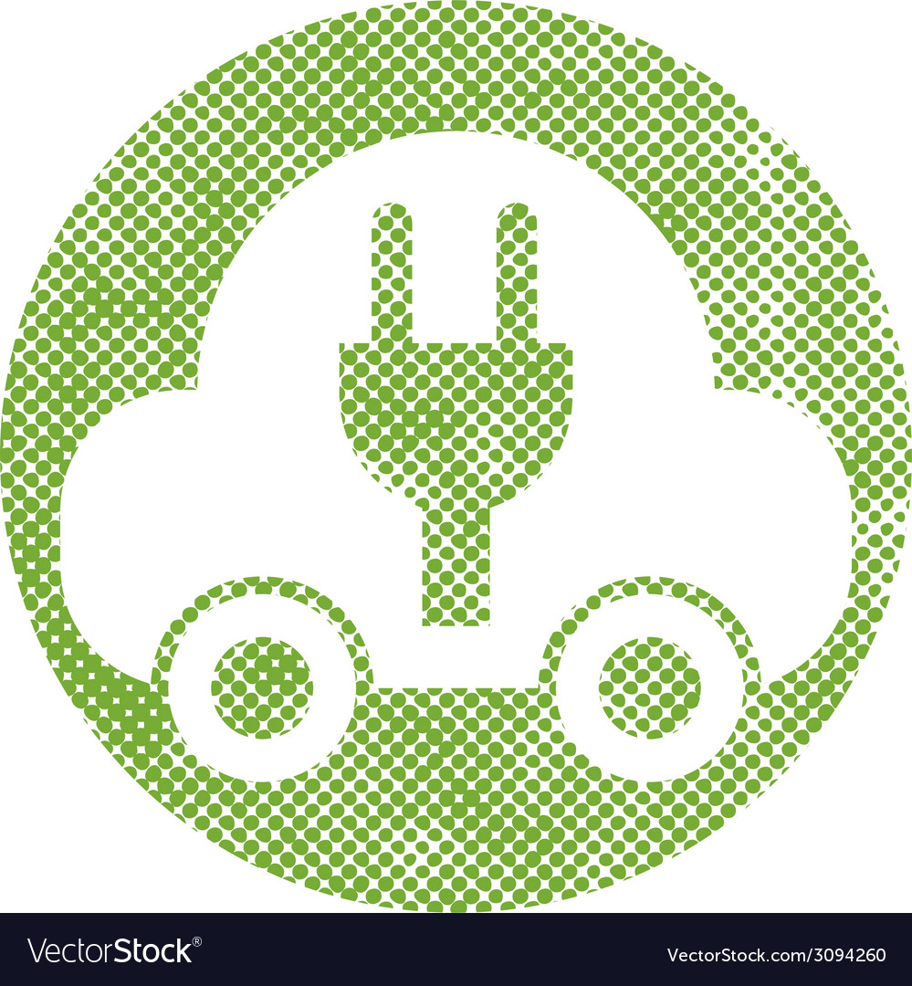 Green ecological electric car sign with pixel vector image
