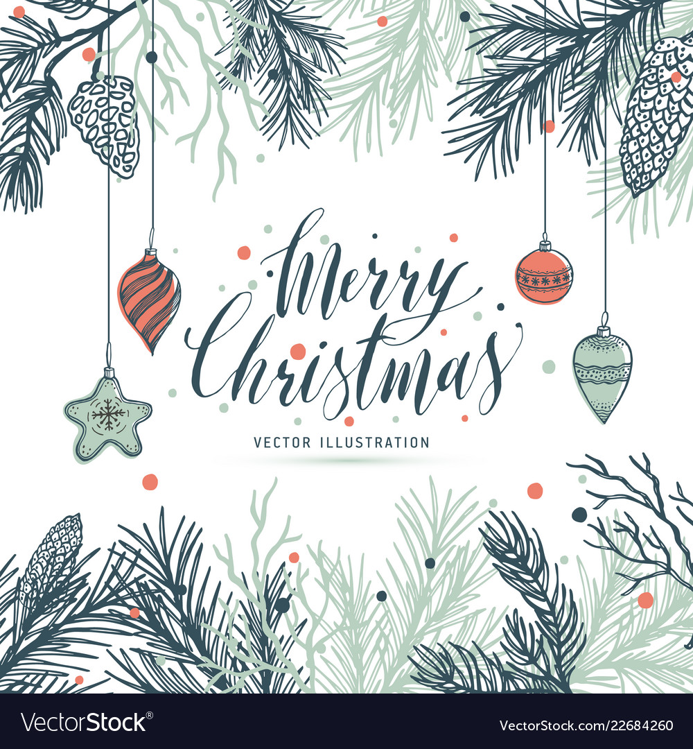 Mery Christmas.Greeting Card Mery Christmas With Pine And