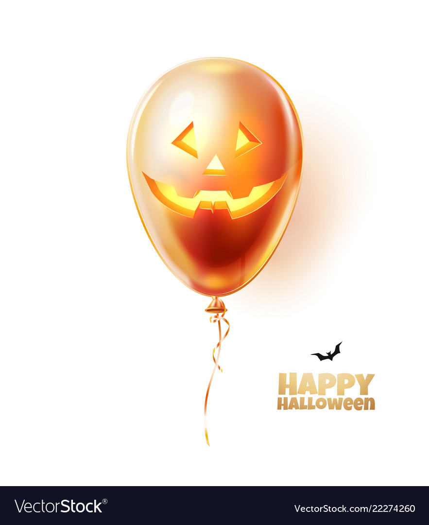 Halloween balloon with scary spooky face