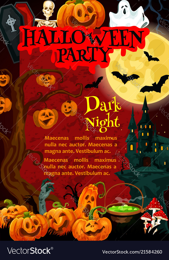 Halloween party poster of october holiday monsters