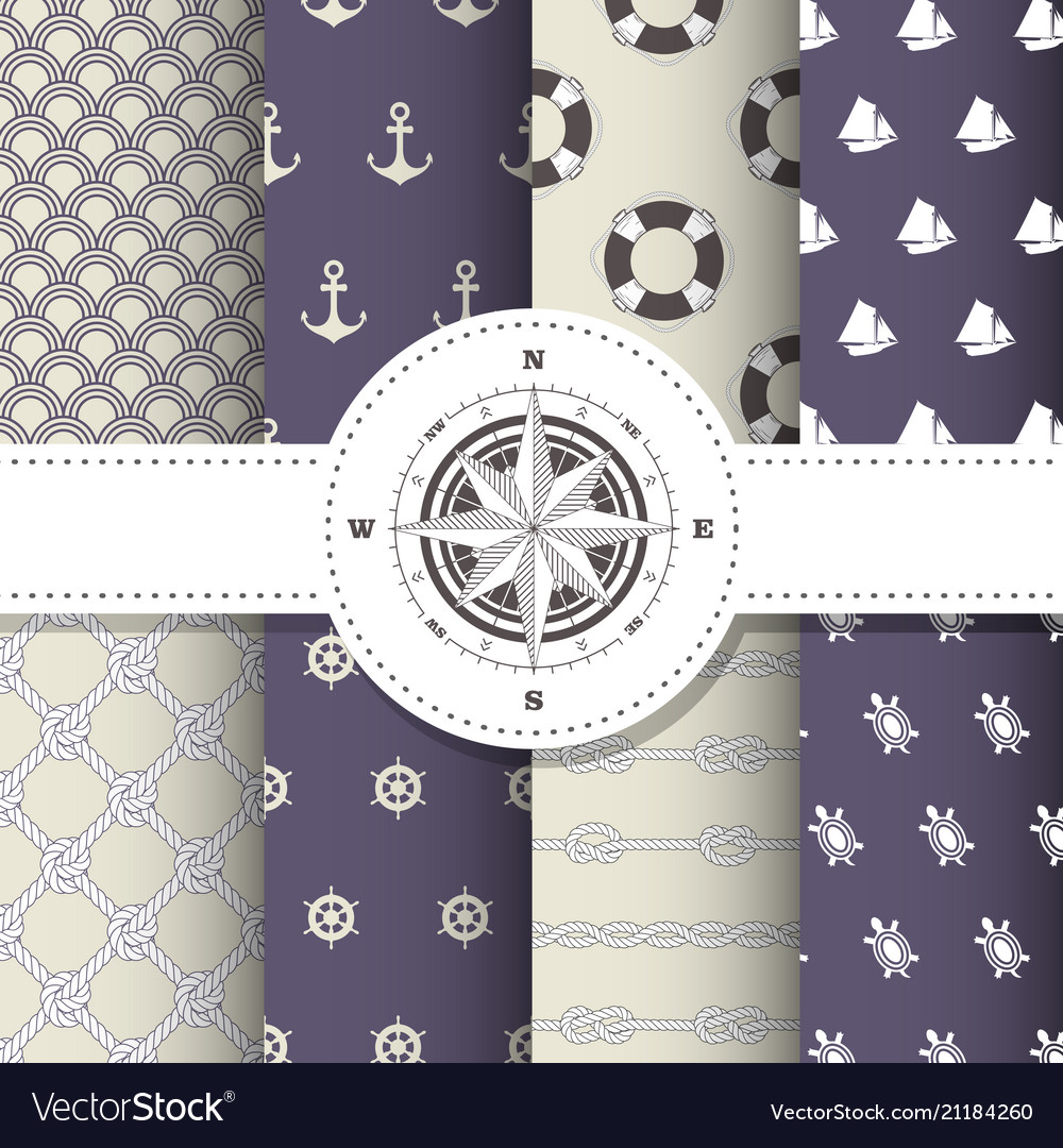 Marine and nautical backgrounds - patterns