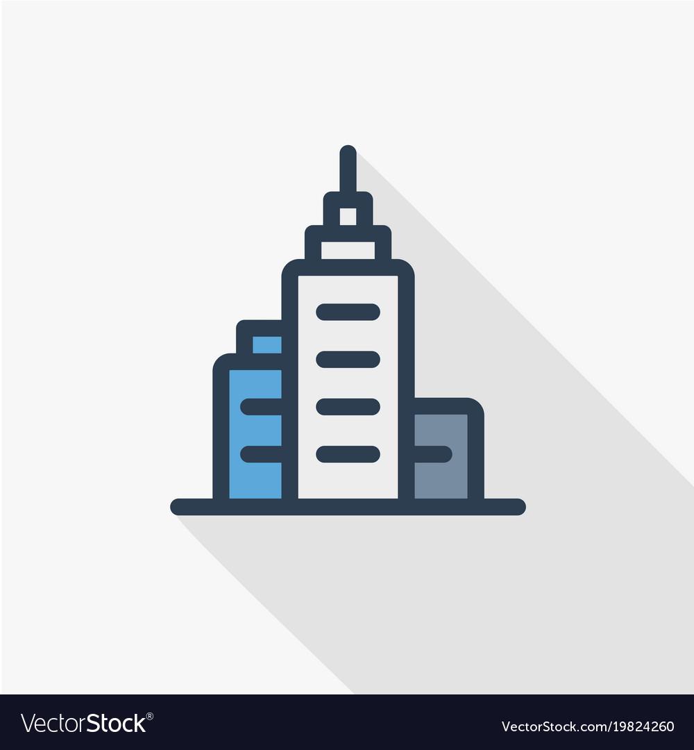 Office city building urban skyscraper thin line