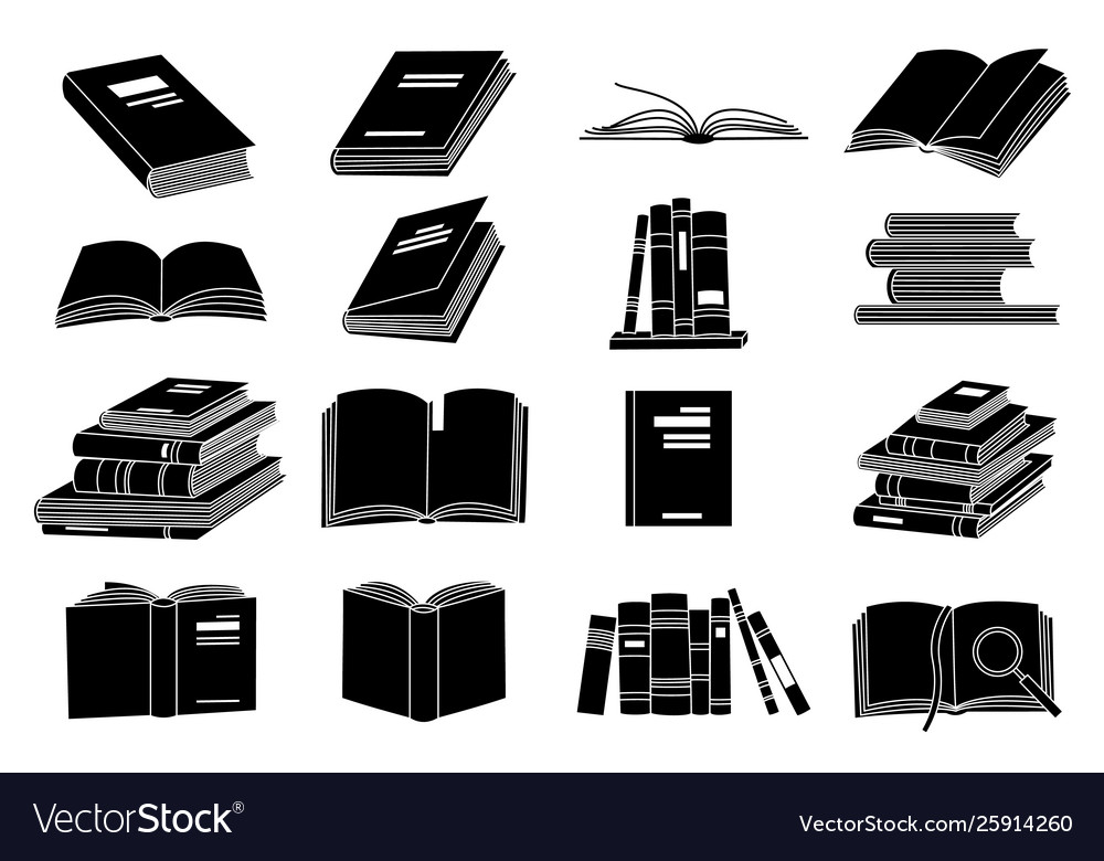 Open books black silhouettes book reading icons