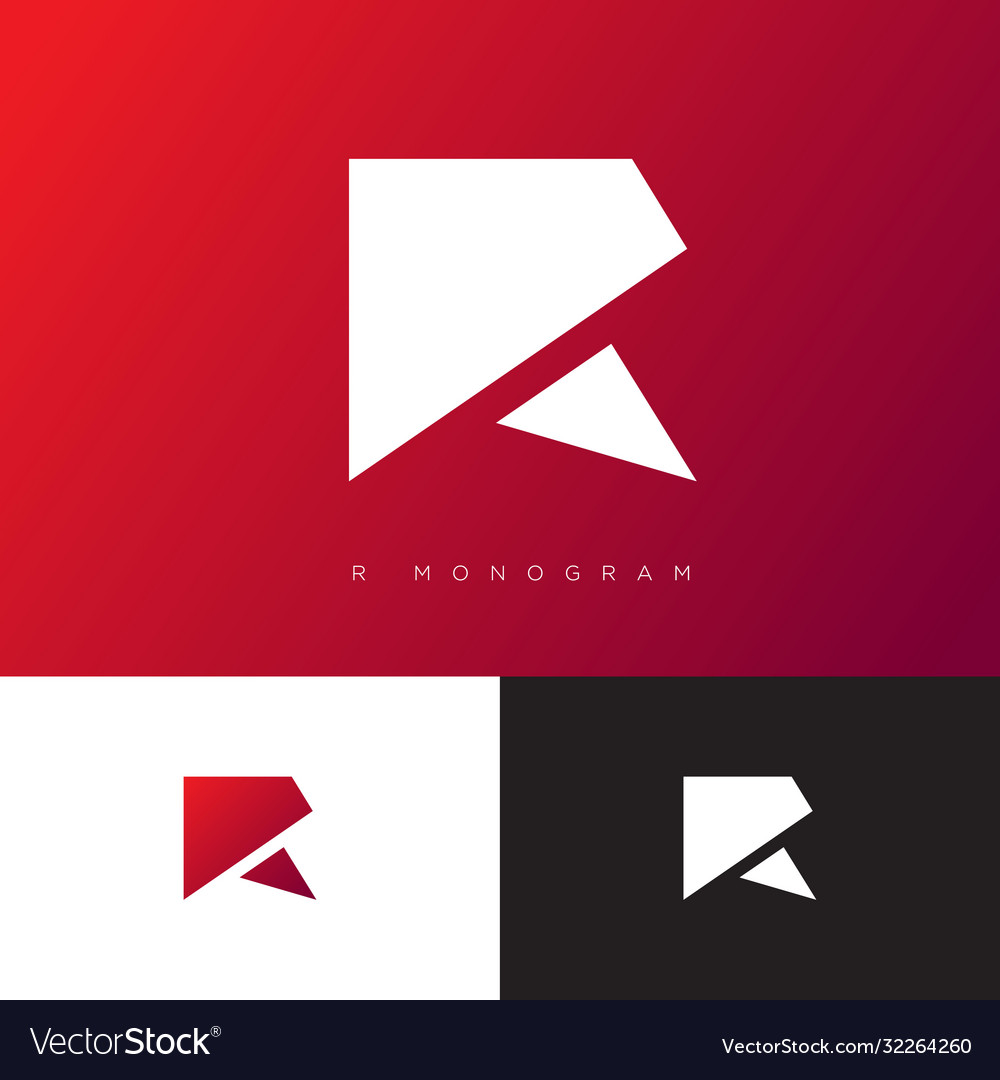 R monogram logo red origami logo geometric vector