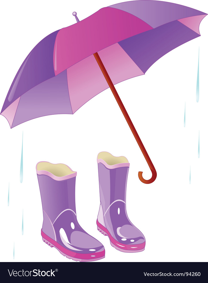 Rain boots and umbrella vector image