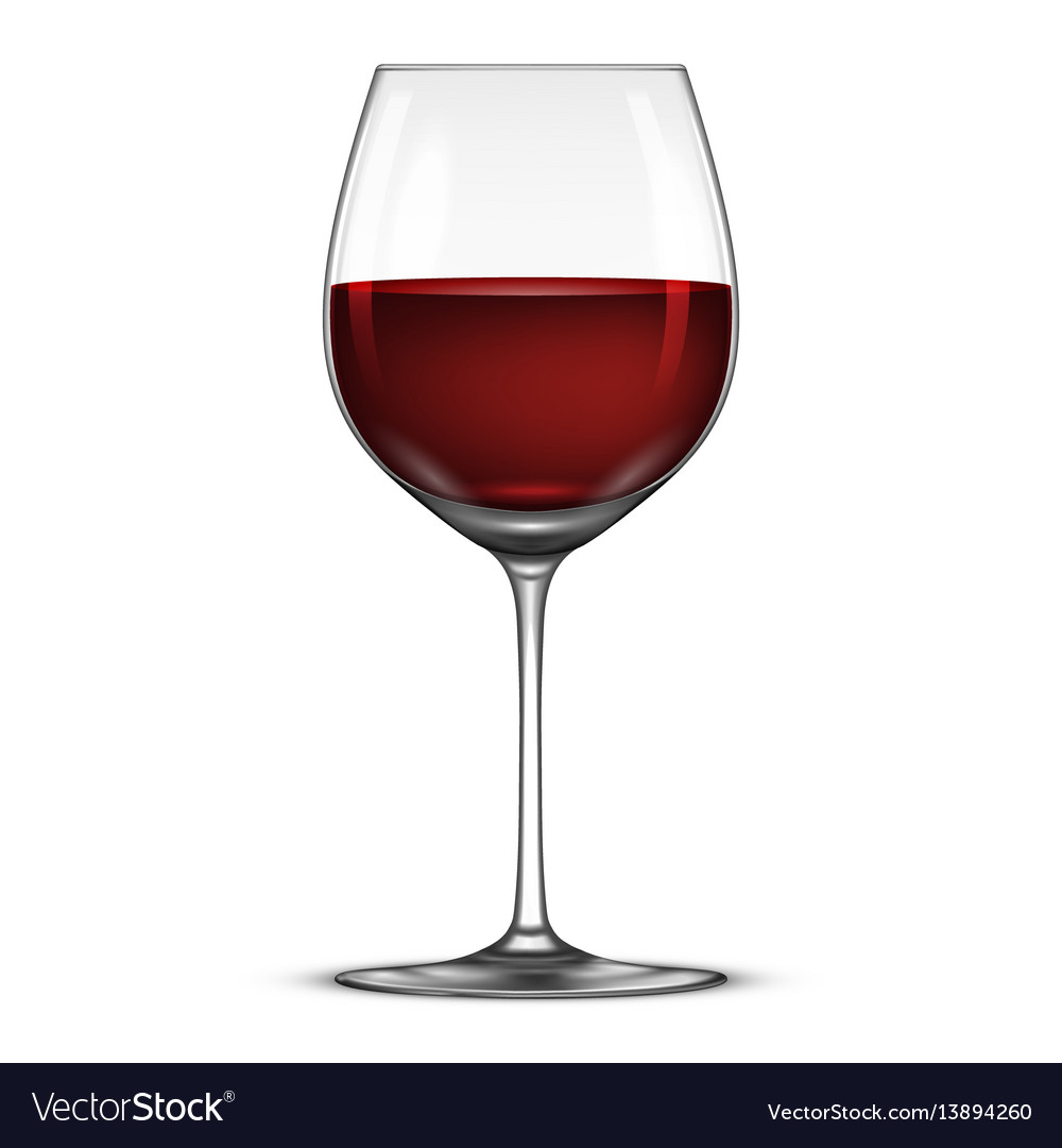 Realistic wineglass with red wine icon