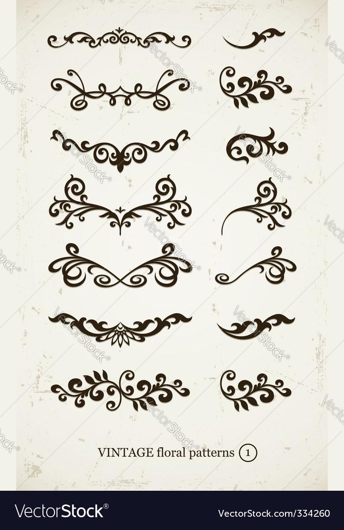 Set of vintage decorative vector image