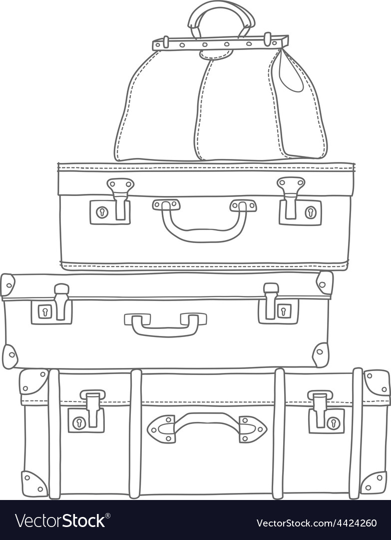 Sketch of the suitcases on white background