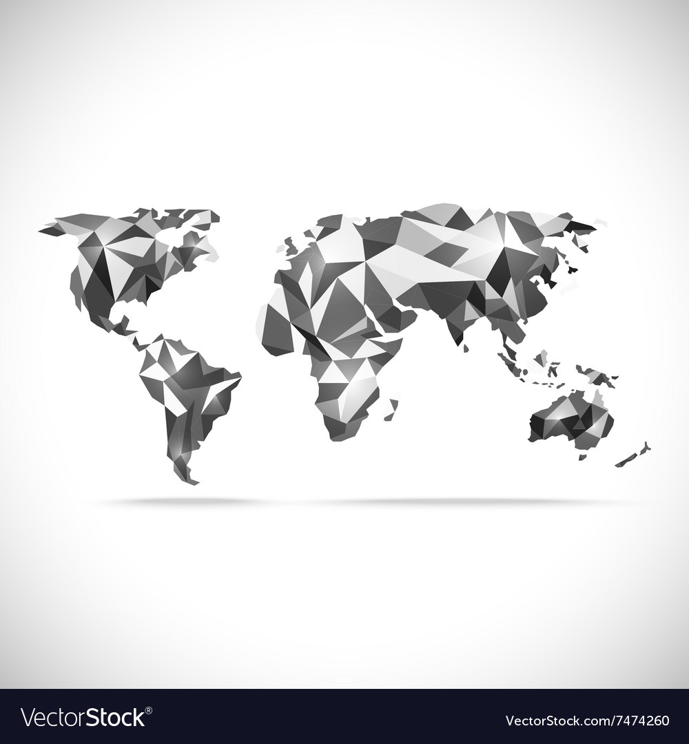 World Map polygonal precision low-poly