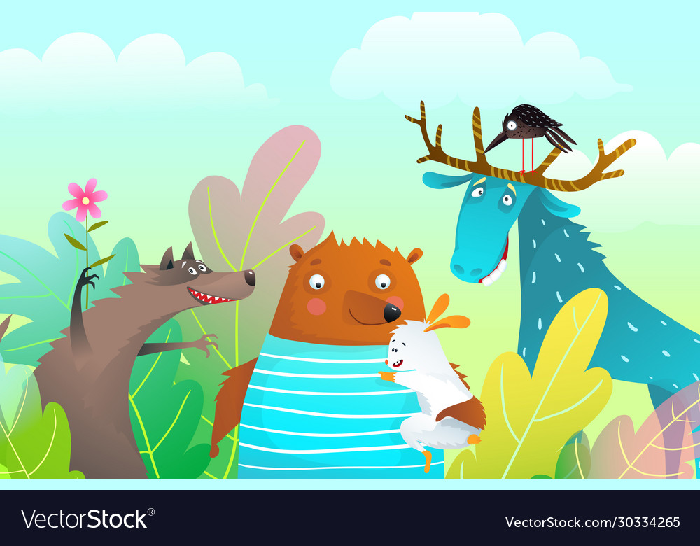 Animals characters friendship portrait in the