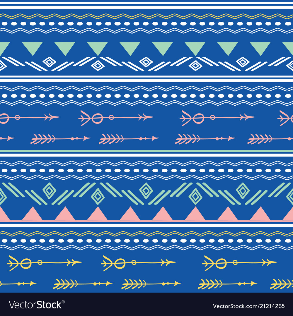Blue pink tribal arrows seamless pattern